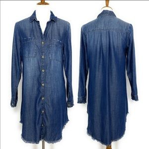 Cloth & Stone Chambray Button Down Shirt Dress M